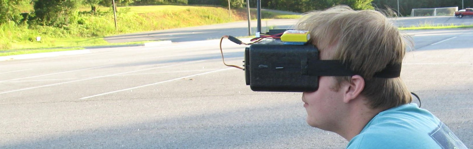Pilot flying FPV with a headset