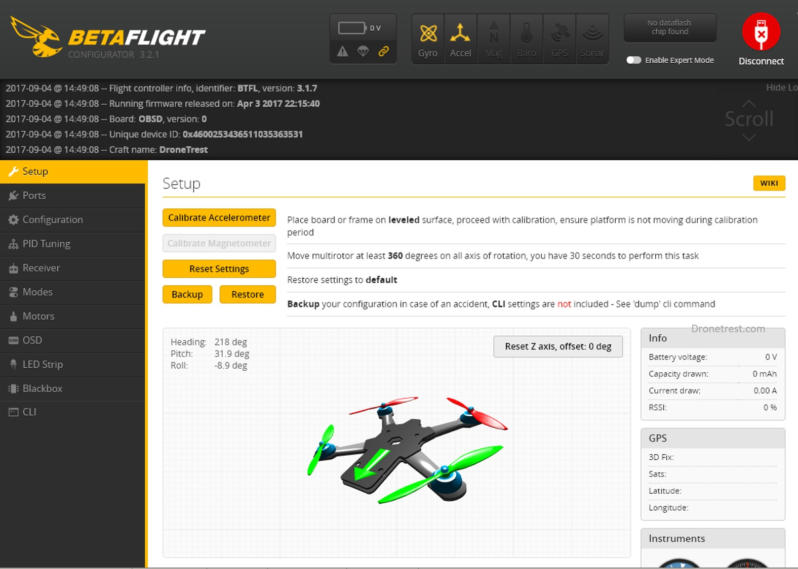 Wizard-X220s-betaflight-connect