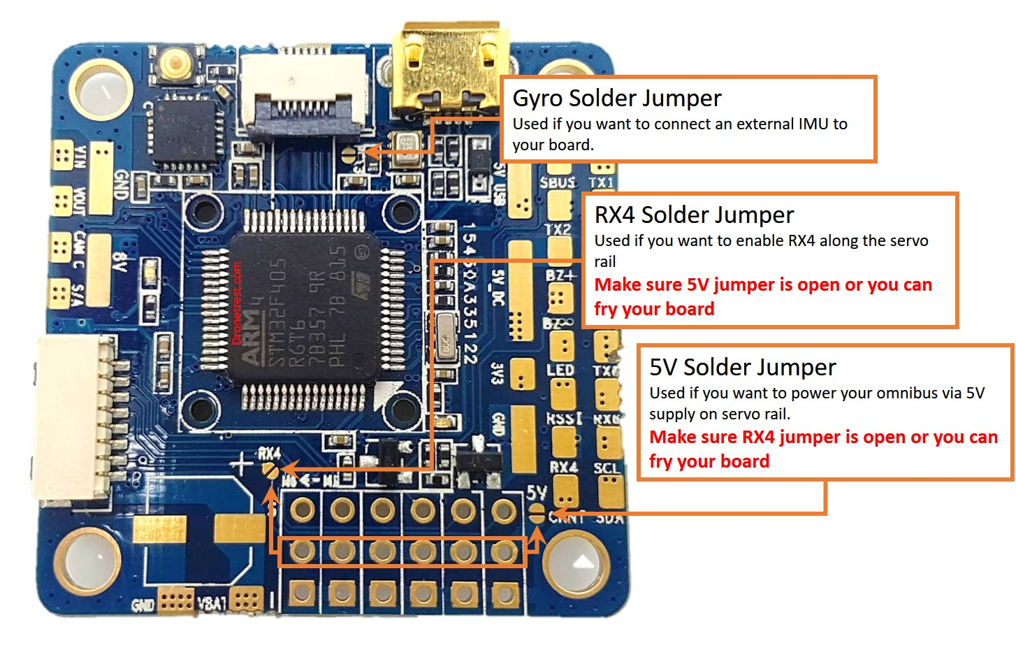 Omnibus F4 V6 Flight Controller Guide Dronetrest Blog Have The New Power Lines Soldered To Gps Circuit Board When I Solder Jumpers